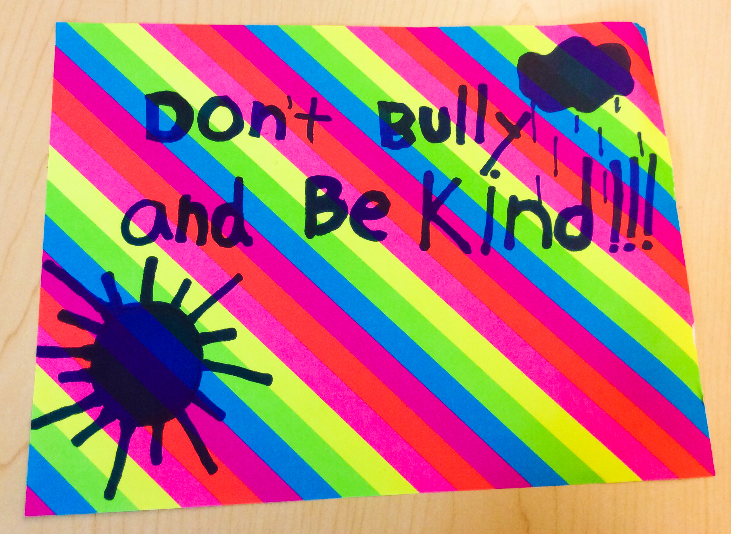 Don't Bully and Be Kind Sign