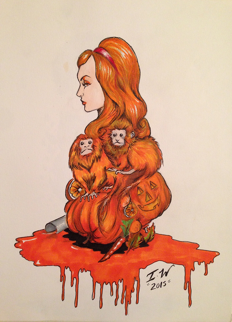 """Orange"" a painting of a woman's profile with orange hair that transforms into chimps and pumpkins by Ian Williams"