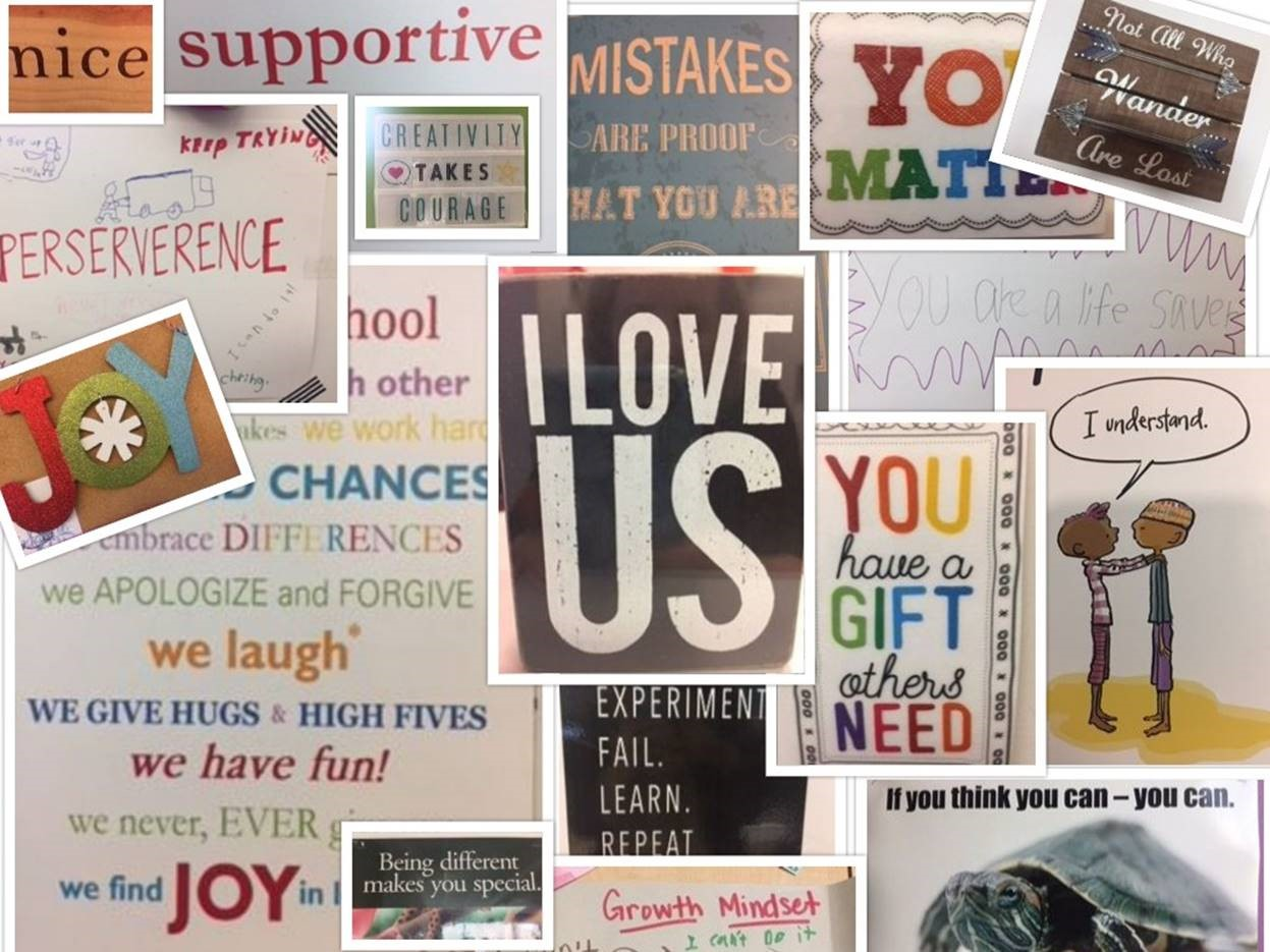 Collage of words found around The Joy School campus, like